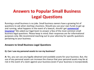 Answers to Popular Small Business Legal Questions