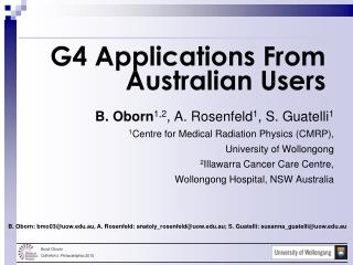 G4 Applications From Australian Users