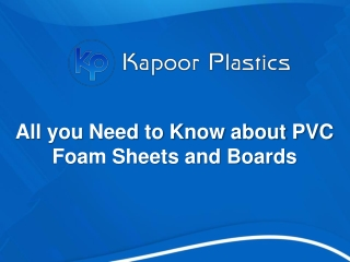All you Need to Know about PVC Foam Sheets and Boards