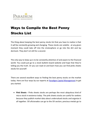 Ways to Compile the Best Penny Stocks List