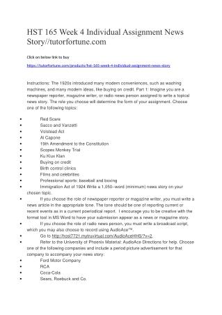 HST 165 Week 4 Individual Assignment News Story//tutorfortune.com