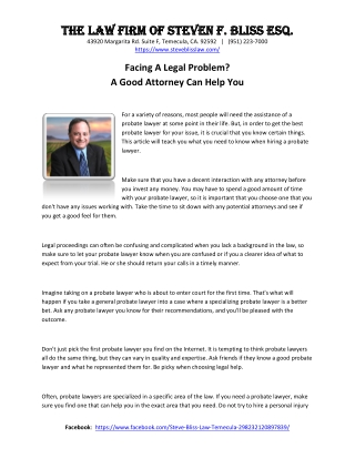 The Law Firm of Steven F. Bliss Esq