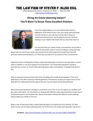 Hiring An Estate planning lawyer