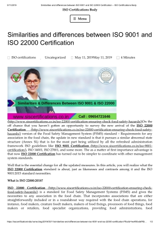 Similarities and differences between ISO 9001 and ISO 22000 Certification.