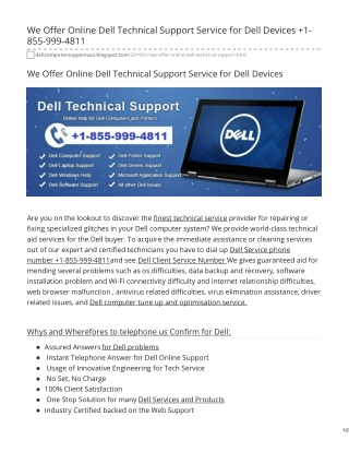 Dell Customer Support 1-855-999-4811 Phone Number is 24 X 7 Reachable To Give Support Help