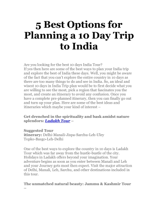 5 best option for planning a 10 day trip to india