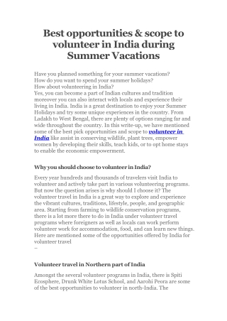 best opportunities and scope to volunteer in india during summer vacations