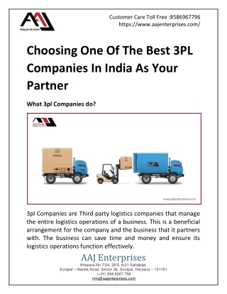 Choosing One Of The Best 3PL Companies In India As Your Partner