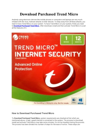 Download Purchased Trend Micro