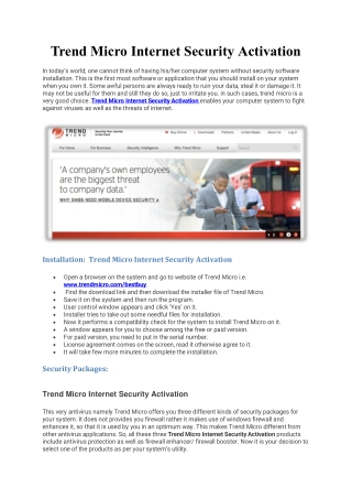 Trend micro internet security activation