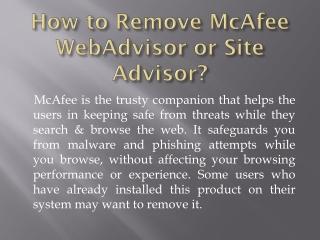 How to Remove McAfee WebAdvisor or Site Advisor?