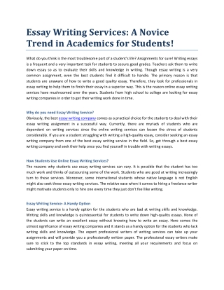 Essay Writing Services: A Novice Trend in Academics for Students!