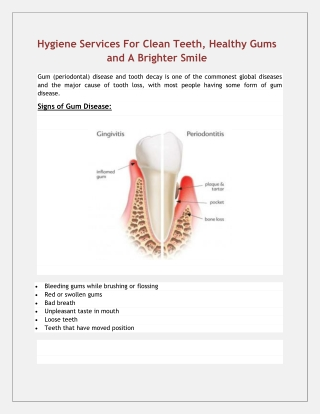Hygiene Services For Clean Teeth, Healthy Gums and A Brighter Smile Gum