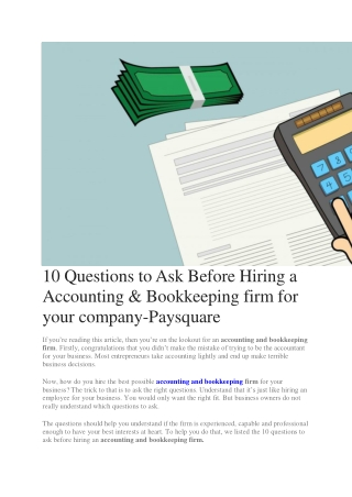 10 Questions to Ask Before Hiring a Accounting & Bookkeeping firm for your company-Paysquare