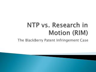 NTP vs. Research in Motion RIM
