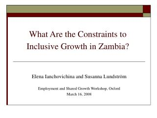 What Are the Constraints to Inclusive Growth in Zambia?