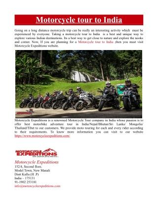 Motorcycle tour to India