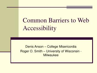 Common Barriers to Web Accessibility