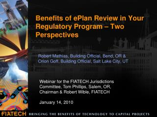 Benefits of ePlan Review in Your Regulatory Program – Two Perspectives