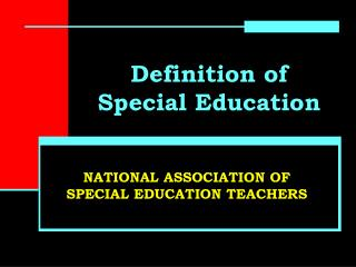 Definition of Special Education