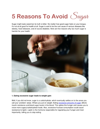 5 Reasons To Avoid Sugar
