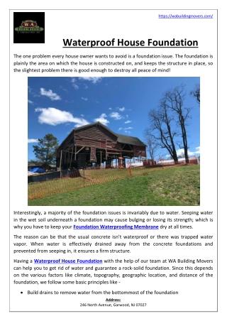 Waterproof House Foundation