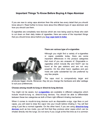 Important Things To Know Before Buying A Vape Atomizer