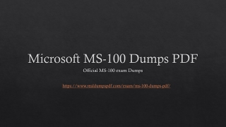 Unique & Impressive ~ Microsoft MS-100 Dumps Pdf