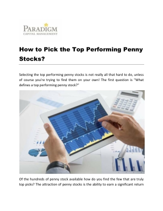 How to Pick the Top Performing Penny Stocks?