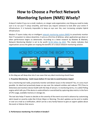 How to Choose a Perfect Network Monitoring System (NMS) Wisely?