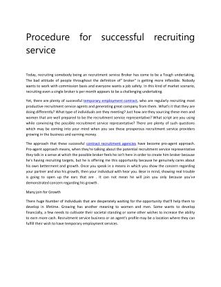 Procedure for successful recruiting service