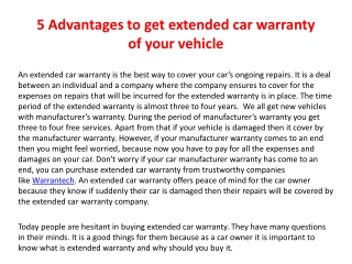 5 Advantages to get extended car warranty of your vehicle
