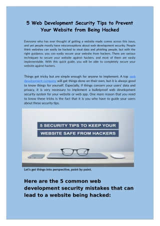 Web Development Security Tips to Prevent Your Website to be Hacked