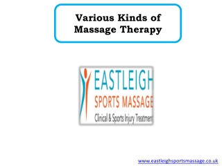 Various Kinds of Massage Therapy