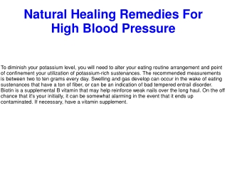 Natural Healing Remedies For High Blood Pressure
