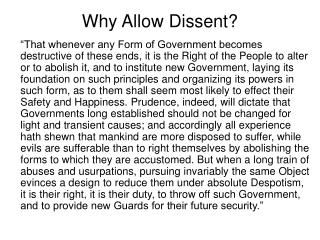 Why Allow Dissent?