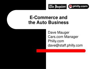 E-Commerce and  the Auto Business