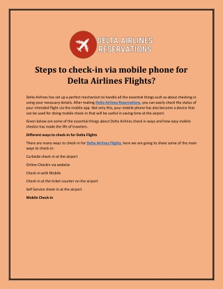 Steps to check-in via mobile phone for Delta Airlines Flights?