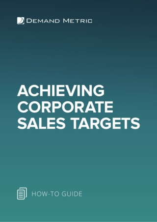 Achieving Corporate Sales Targets