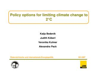 Policy options for limiting climate change to 2 C