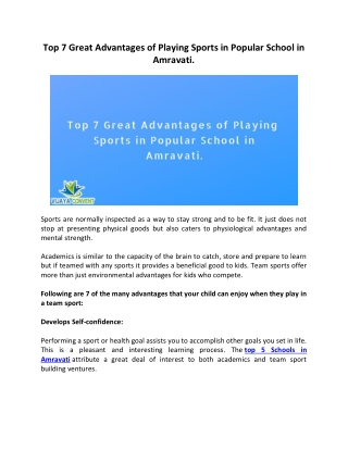 Top 7 Great Advantages of Playing Sports in Popular School in Amravati.