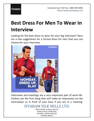 Best Dress For Men To Wear In Interview