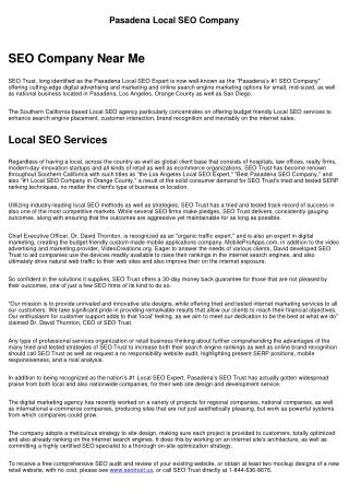 Pasadena Local SEO Services