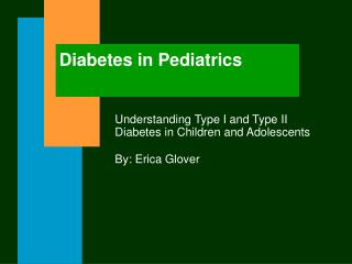 Diabetes in Pediatrics
