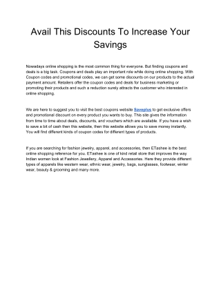 Avail This Discounts To Increase Your Savings