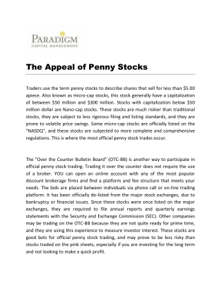 The Appeal of Penny Stocks