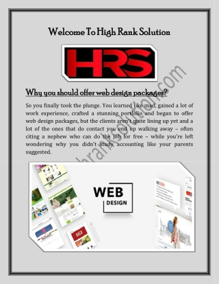Welcome To High Rank Solution - web design packages