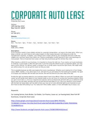 Corporate Auto Lease