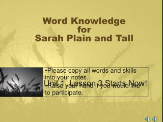 Word Knowledge for Sarah Plain and Tall