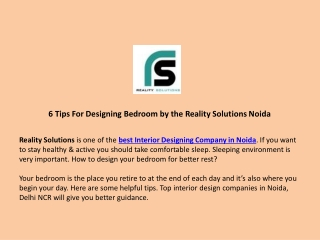 6 Tips For Designing Bedroom by the Reality Solutions Noida